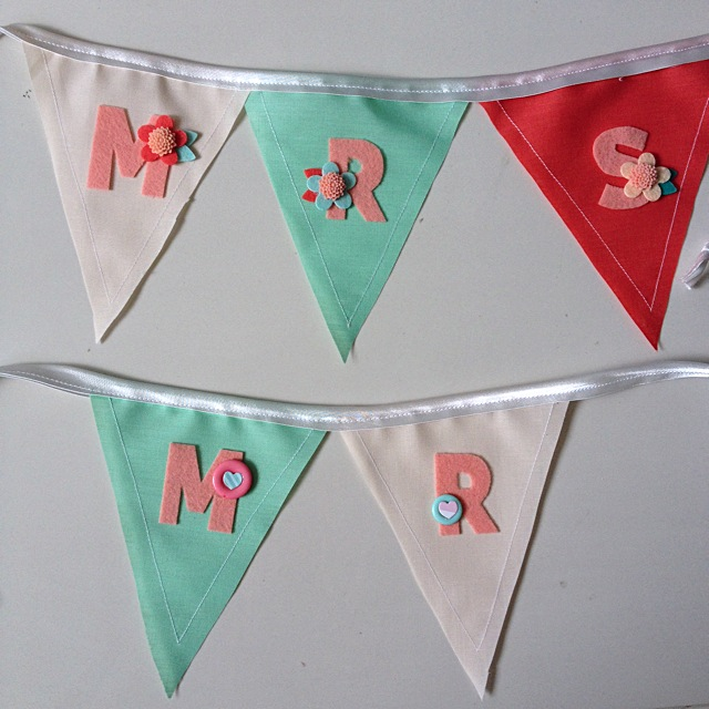 Mr & Mrs Wedding Banner in Mint and peach