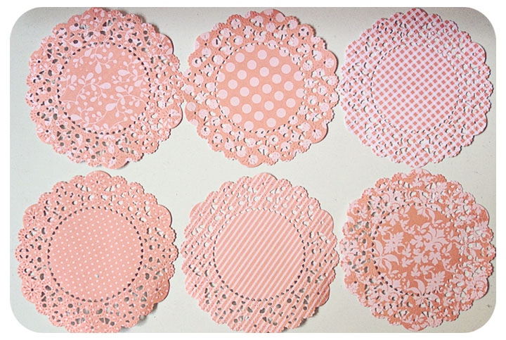 6 Parisian Lace Doily Dark Melon Berry / pack