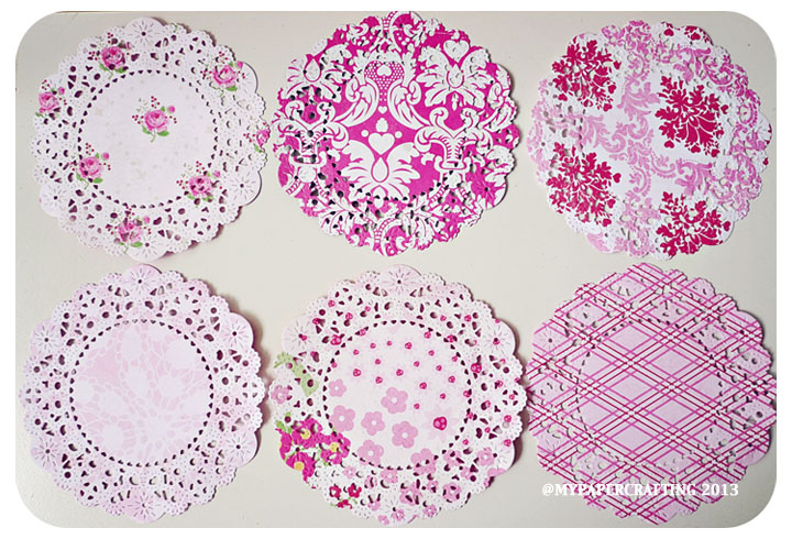 6 Parisian Lace Doily Love Story Mixed pattern paper / pack