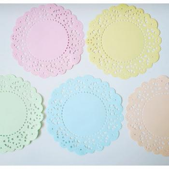 Pastel colored English Doily paper / pack