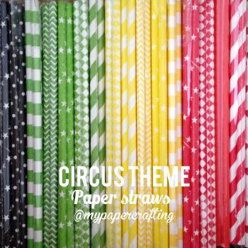 Drinking Paper Straw in black, red, yellow & green Circus theme