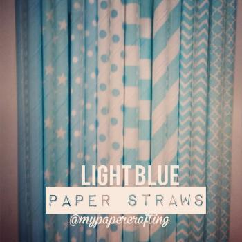 Drinking Paper Straw in Light Blue - 8 different design
